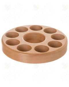 Circular Beechwood Essential Oil Caddy (Holds 9 Vials)