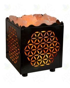 Himalayan Salts Lamp with Flower-cut Cube Basket