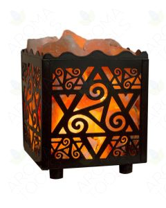 Himalayan Salts Lamp with Star-cut Cube Basket