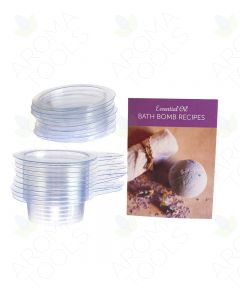 Essential Oil Bath Bomb Recipes Card and Plastic Disk Bath Bomb Molds (Pack of 10)