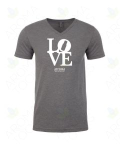 Unisex Dark Heather Gray Love doTERRA V-Neck Short Sleeve Shirt