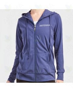 Women's Denim Thin Zip-UP Hoodie with Embroidered doTERRA Logo