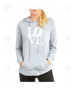 "Women's Heather Gray ""LOVE doTERRA"" Thin Pullover Hoodie"