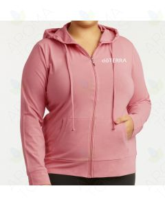 Women's Mauve Rose Thin Zip-UP Hoodie with Embroidered doTERRA Logo