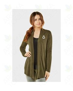 Women's Olive Rayon Cardigan with Embroidered doTERRA O Logo