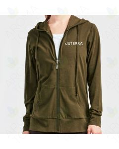 Women's Olive Thin Zip-UP Hoodie with Embroidered doTERRA Logo