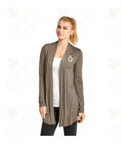 Women's Taupe Rayon Cardigan with Embroidered doTERRA O Logo