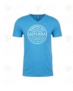 Unisex Turquoise doTERRA Seal V-Neck Short Sleeve Shirt